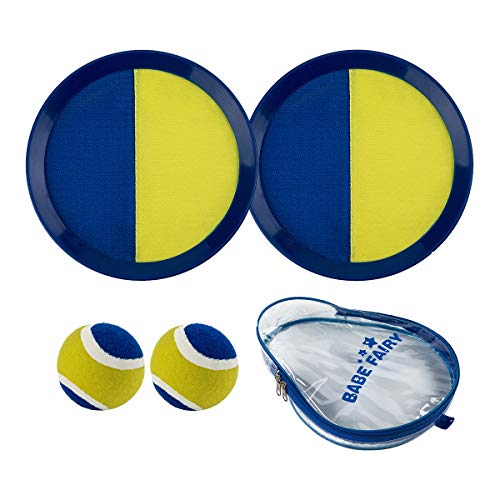 Babe Fairy Catch Ball Toss Paddle Game Set 2 Paddle,2 Balls 1 Storage Bag Kids & Adults, Outdoor Indoor (Dark Blue/Yellow) by Babe Fairy