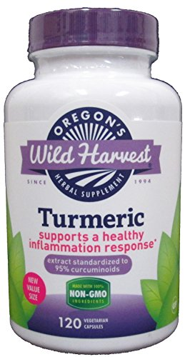 Oregon's Wild Harvest Turmeric  Capsules Non-GMO Herbal Supplements (Packaging May Vary), 120 Count