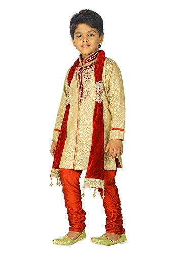 Ahhaaaa Kids Ethnic Indian Handwork Sherwani and Breeches Set With Dupatta Set for Boys by ahhaaaa (Image #3)