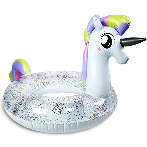 Child Float - Pool Floats for Kids - Children's Swim Ring, Clear Top with Pieces of Glitter Inside (2019 New)