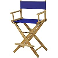 American Trails Extra-Wide Premium 24 Directors Chair Natural Frame with Royal Blue Canvas, Counter Height