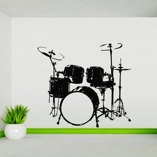 Wall Decal Sticker Vinyl Music Style Drum Bass Impact Microphone Artist M842