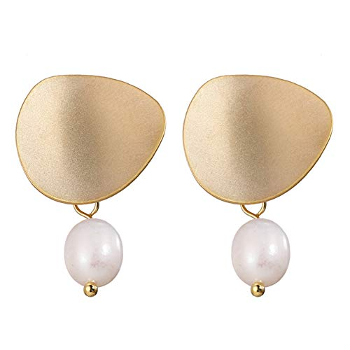HENGSHENG Gold Color Matte Metal Freshwater White Potato Pearl Fashion Drop Earrings for Wedding