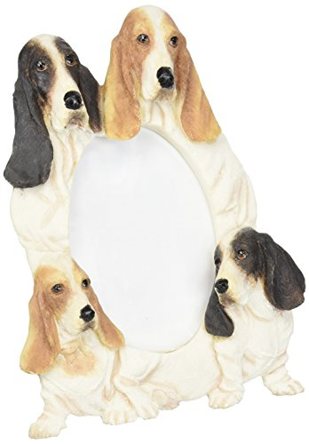 Bassett Hound  Picture Frame Holds Your Favorite 3 x 5 Inch Photo,  A Hand Painted Realistic Looking Bassett Hound  Family Surrounding  Your Photo. This Beautifully Crafted (Basset Hound Photo Frame)