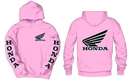 Hoody Honda Sweatshirt (Honda Goldwing Front, Back, Sleeves Logos Hoodie, Large Pink)