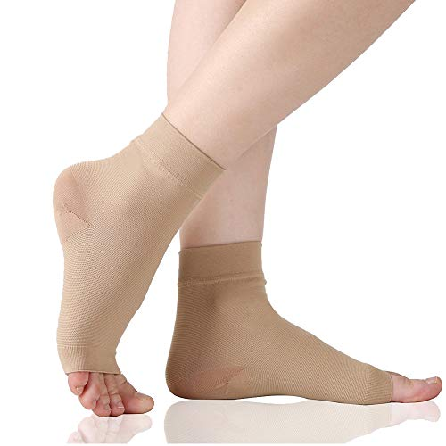 (Plantar Fasciitis Socks, 20-30 mmHg Foot Care Compression Sleeve for Men Women, Compression Socks for Arch Support & Ankle Brace, Eases Swelling & Heel Spurs, Pain Relief, Injury Recovery, Beige L)