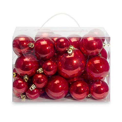 AMS 60mm/2.36 Christmas Ball Plating Ornaments Tree Collection for Holiday Parties Decoration (28ct, Red)