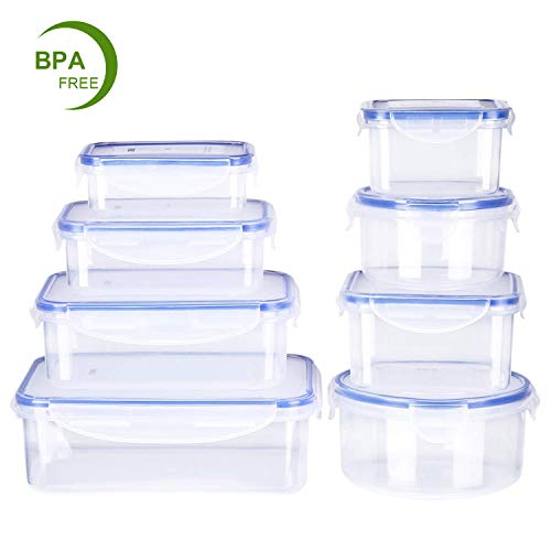 Deik Food Storage Containers, BPA-Free Plastic Food Container Set with Locking Lids-Keep Food Fresh with Airtight Seal, Safe for Dishwasher, Freezer, Microwave, 8-Piece Set, FDA Approved