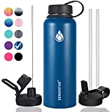 Sendestar 32 oz Double Wall Vacuum Insulated Leak Proof Stainless Steel Sports Water Bottle-Wide Mouth with Straw Lid & Flex Cap & Spout Lid (Cobalt)