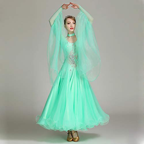 Costumi Festa Vestito Donna Palcoscenico Green Concorrenza Xhtw amp;b Maniche Gonna Lunghe Danza Flessibile Abiti Elegante Bqz1x4Pw
