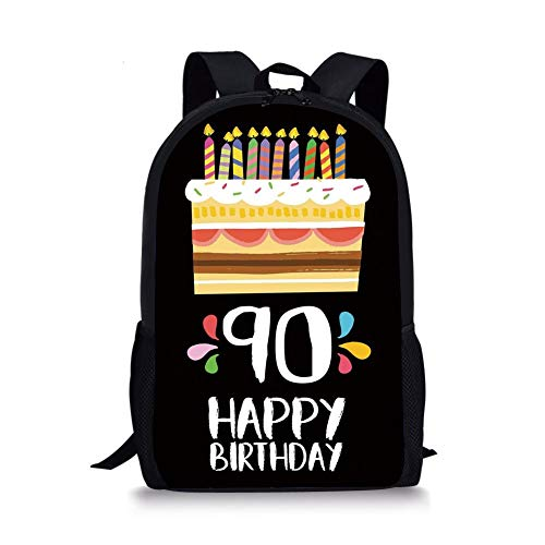 School Bags 90th Birthday Decorations,Colorful Party Set Up on Black Background Cake Candles Artistic,Multicolor for Boys&Girls Mens Sport Daypack