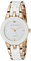 Anne Klein Women's AK/1610WTRG Diamond Dial Rose Gold-Tone and White Ceramic Bracelet Watch