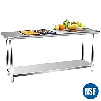 Amazon.com: Mesa de cocina y trabajo comercial, mesa de ...