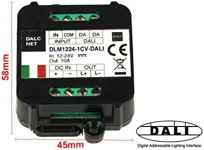Dalcnet DLM1224-1CV-Dali LED Dimmer Bus Dali 12 V 24 V 10 A Botón N.O. 0/1-10 V potenciómetro