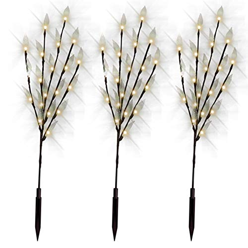 (3 Pack Decorative Solar Powered Tree Branch Twig Leaf LED Fairy Lights Beautiful Night Light Outdoor Garden Patio Lamp(Warm White))