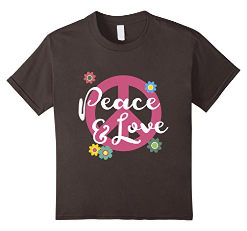 Tie Dye Hippie Costume Ideas (Kids Peace and Love T-Shirt with Tie Dye Peace Sign Gift Tee 12 Asphalt)