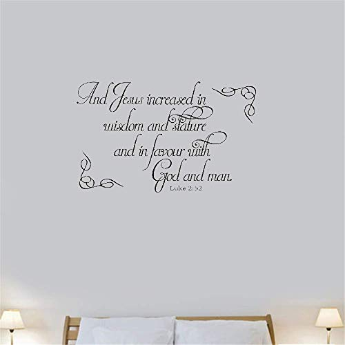 Wall Art Decor Decals Removable Mural Bible Luke 2:52And Jesus Increased in Wisdom and Stature and in Favour with God and Man for Living Room Bedroom