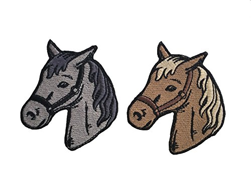Avega Embroidered Iron on Pieces Applique 2 Patch Horse Brown Gray Pets 3.15