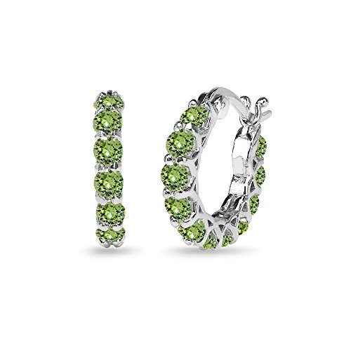 Huggie Earrings Green (Sterling Silver Light Green Round Huggie 18mm Hoop Earrings Made with Swarovski Crystals)