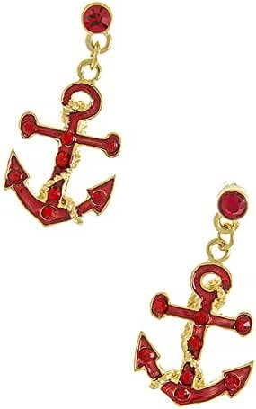 TRENDY FASHION JEWELRY DOTTED CRYSTAL ANCHOR EARRINGS BY FASHION DESTINATION