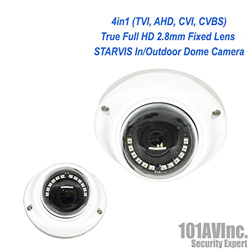 101AV 1080P SONY STARVIS True Full-HD 4in1 (TVI, AHD, CVI, CVBS) 2.8mm Fixed Lens Indoor Outdoor Dome Camera 20 meter IR Range DWDR OSD IP66