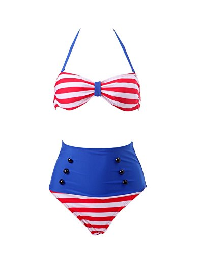 Collager Women Vintage 50s Pinup Girl Rockabilly High Waist Retro Bikini Swimsuit Set (S, Patriotic Red White+Blue)
