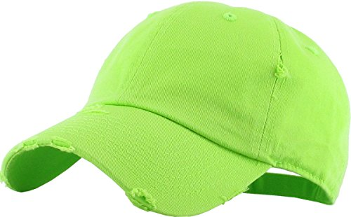 KBETHOS Vintage Washed Distressed Cotton Dad Hat Baseball Cap Adjustable Polo Trucker Unisex Style Headwear (Vintage) Lime Adjustable
