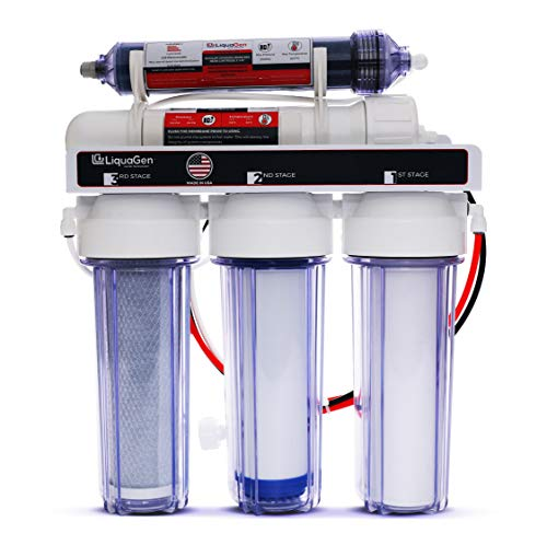 LiquaGen - 5-Stage Reverse Osmosis and Deionization RO/DI | Aquarium Reef Water Filter System - 75 GPD Aquarium Reverse Osmosis System