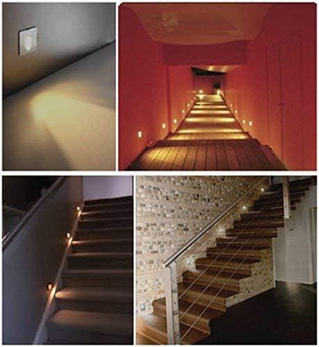 OLEEP LED Lámpara de pared Focos empotrables luz de escalera Iluminación de Pasos, Cuadrada, 8x8cm, 230V, 1W, Blanco Fresco, 4 PCS: Amazon.es: Iluminación