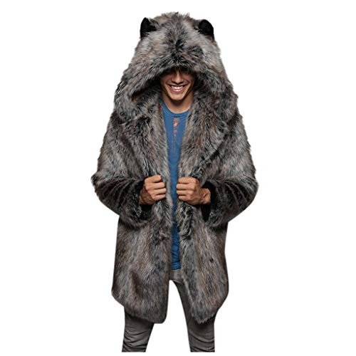 F_Gotal Mens Jackets, Men's Fashion Faux Fur Trench Coat Jacket Parka Thicker Warm Long Outwear Cardigan Gray (Mens Business Casual Cardigan)