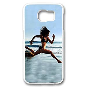 Samsung Galaxy S6 Case Cover,Sexy Girl Running On Beach Custom Designer Hard Shell Case for Samsung Galaxy S6 White