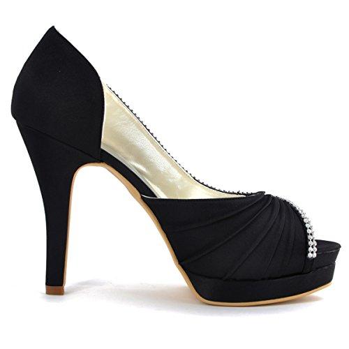 ElegantPark EP11064-IPF Women Peep Toe Platform High Heel D'orsay Pleated Satin Evening Wedding Pumps Black US 7
