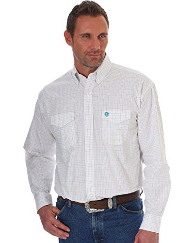 Wrangler Men's George Strait Long Sleeve Button Front Shirt, White/Orange, XL
