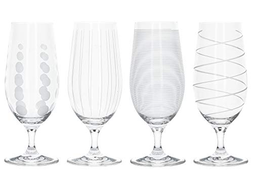 Mikasa 'Cheers' Beer Glasses/Craft Beer Glass Set with Decorative Etching, Crystal Glass, Silver Effect, 460 ml, Set of 4 (Decorative Beer Glasses)