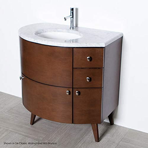 Free-standing wood base with three drawers and one door, washbasin on the right, 36