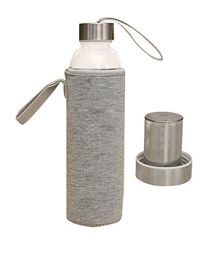 Hot & Cold Brew Travel Bottle Infuser - 20 Oz. Borosilicate Glass Tea Water Bottle with Infuser, Stainless Steel Filter Basket & Insulating Sleeve - Highest Quality - BPA Free (Heather Grey)