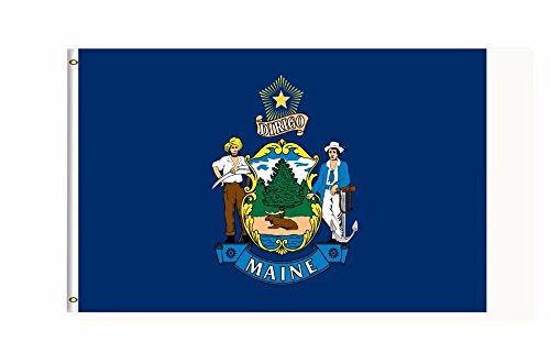 Maine US State Flag Banner 3Ft x 5Ft Polyester Printed With Grommets