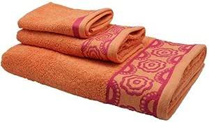 Style Blooming Towel Set - Bath Towel, Hand Towel, Face Towel: Orange