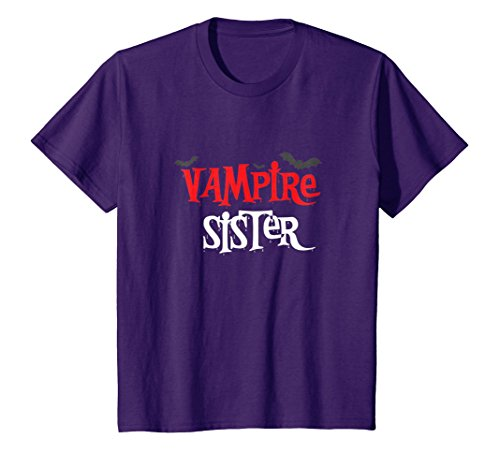 Kids Vampire sister Shirt, Funny Cute Halloween Costume Gift 12 Purple for $<!--$12.88-->