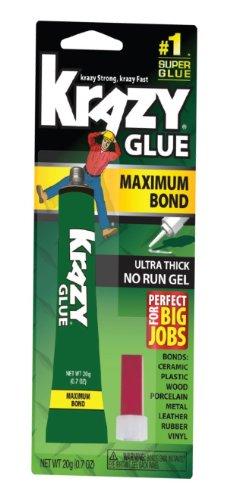 Krazy Glue Maximum Bond Super Glue, No-Run Gel, 20 ()