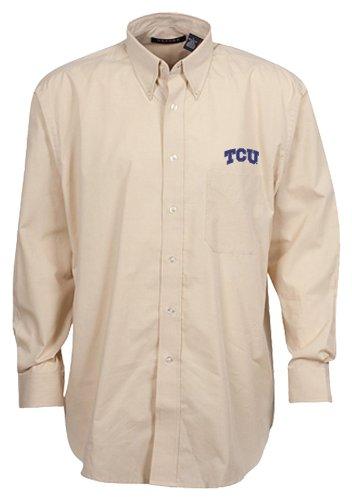 Oxford NCAA TCU Horned Frogs Men's Mini-Check Button Down, Khaki/White, Small