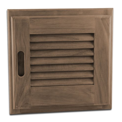 SeaTeak 60720 Teak Louvered Door and Frame, Square, Right Hand Opening, 12 Inch x 12 - Solid Door Louvered
