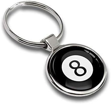 Llavero Sport Juego Bola de Billar Negro Número 8 Metal Keyring ...