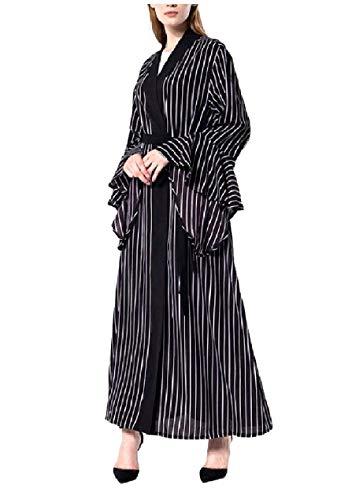 Winwinus Women's Belted Ruffle Sleeve Trench Elegent Muslim Dresses Abaya Black XS