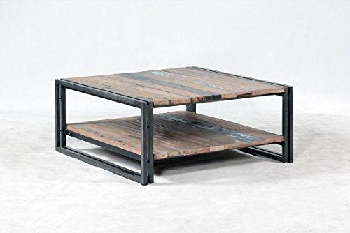Mesa Baja 2 bandejas Square 80 x 80 x 35 Estilo Industrial de ...