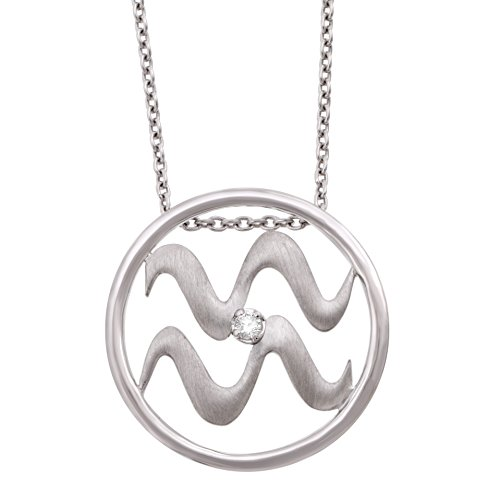 IGI Certified Zodiac Sign Aquarius Silver Diamond Pendant Necklace (0.03 carat)