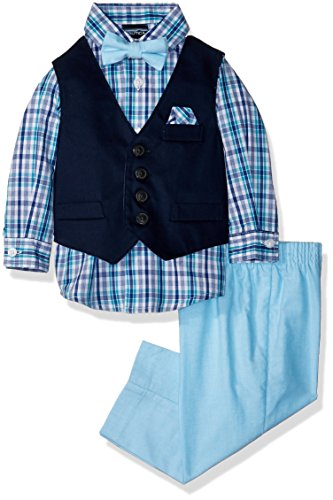 Nautica Boys' 4-Piece Vest Set with Dress Shirt, Bow Tie, Vest, and Pants, Blue Atoll Twill, 3/6 - Twill Pants Boys Infant