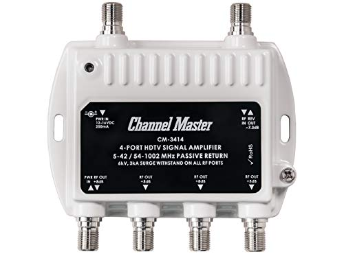 Channel Master Ultra Mini 4 TV Antenna Amplifier, TV Antenna Signal Booster with 4 Outputs for Connecting Antenna or Cable TV to Multiple Televisions (CM-3414)
