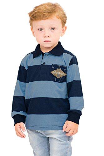 Pulla Bulla Toddler Boy Long Sleeve Striped Polo Shirt Size 4T Blue Bravado by Pulla Bulla