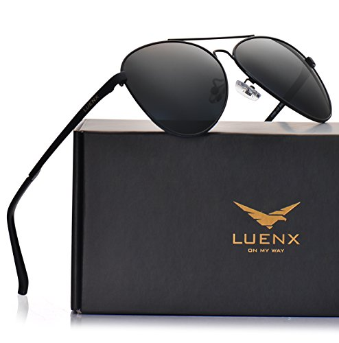 5907c81557b LUENX Men Aviator Sunglasses Polarized - UV 400 Protection with case 60MM  Classic Style - Buy Online in UAE.